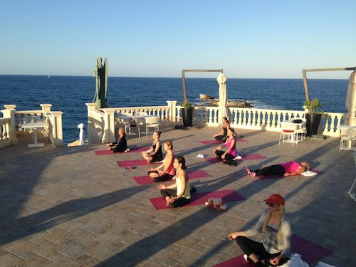 Yoga on our terrace in Sicily