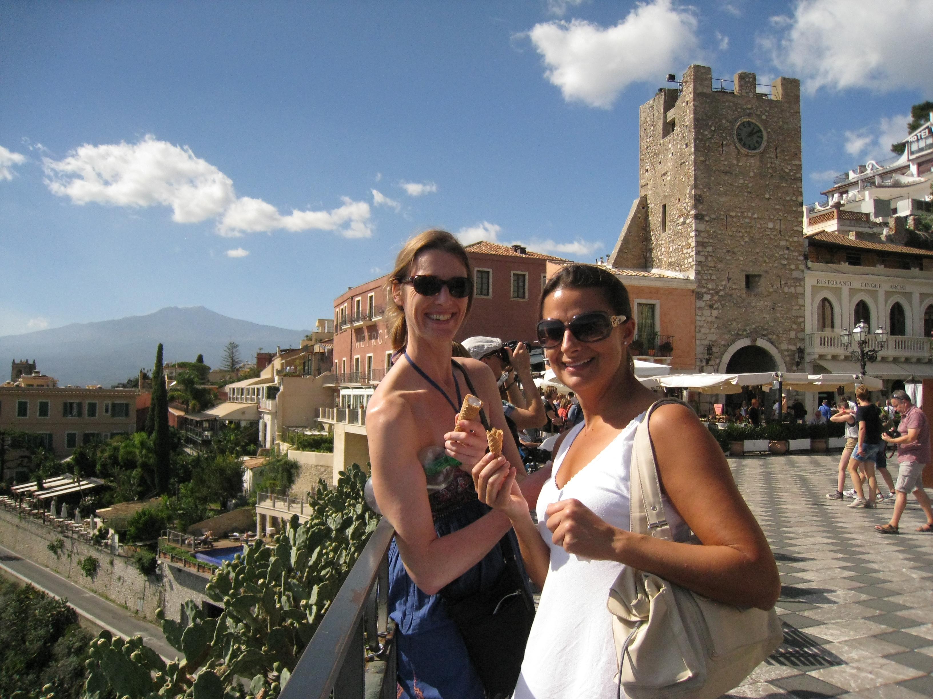Eating gelato in Taormina