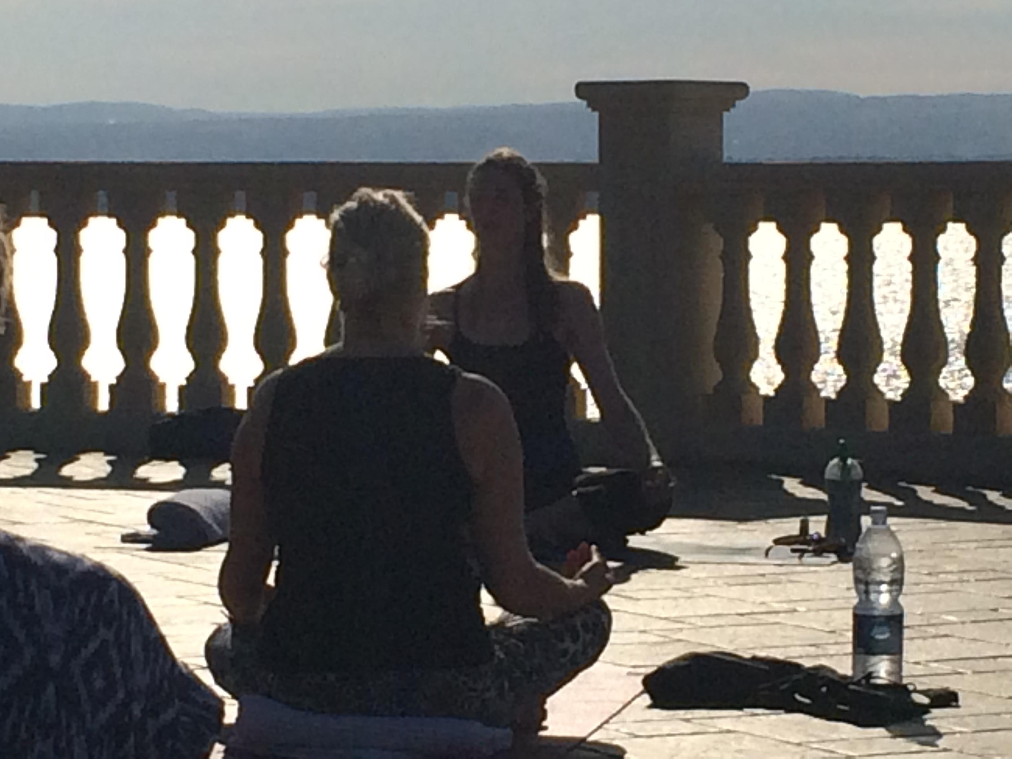 Yoga tuition on the beach