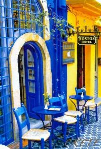 colorful streets in chania town in crete greece