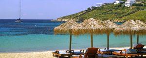 kalo livadi beach in mykonos with yoga escapes