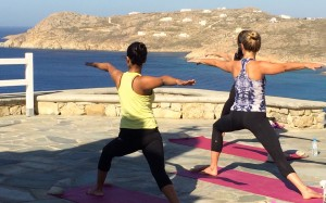 Yoga class by the sea in Greece