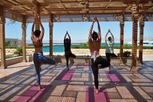 tree pose in egypt on a luxury yoga retreat