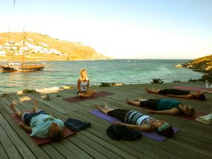 Sunset Yoga Class Mykonos Greece with Yoga Escapes