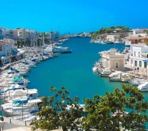 ciutadella town port in menorca spain