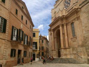 buildings in ciutadella town in menorca spain
