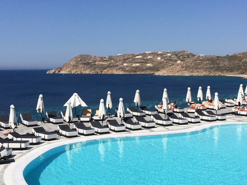 pool at the 5 star myconian imperial hotel on a luxury yoga retreat in mykonos greece