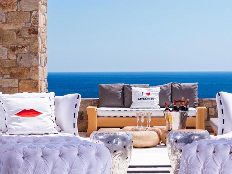 view of the hotel terrace on a luxury yoga retreat in mykonos greece