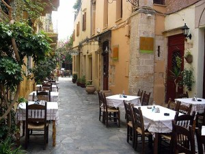Tables in side street in Chania