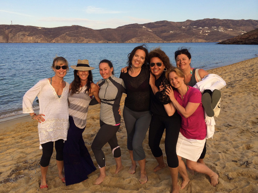 After sunset yoga in Mykonos on a Yoga Retreat