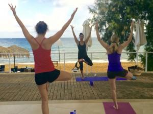 Yoga balances at the yoga escape in Crete.