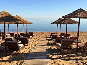 beach at the 5 star hotel kalliston atlantica on a yoga retreat in crete greece