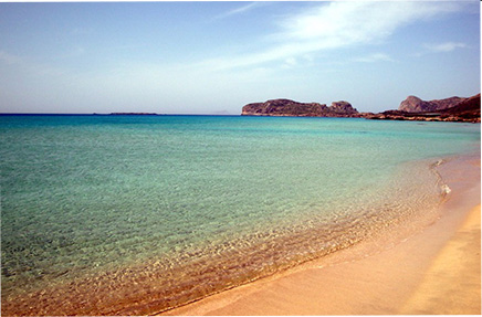 Beautiful beach scene in Greece on yoga retreat
