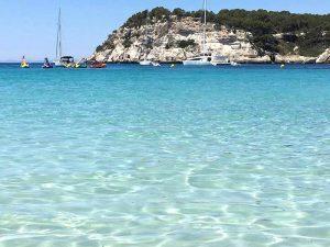 gorgeous blue sea in menorca spain