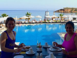 breakfast in crete at our 5 star hotel after yoga class with yoga escapes
