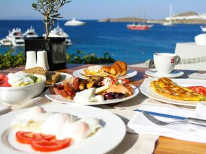 breakfast in mykonos greece on a 5 star yoga retreat
