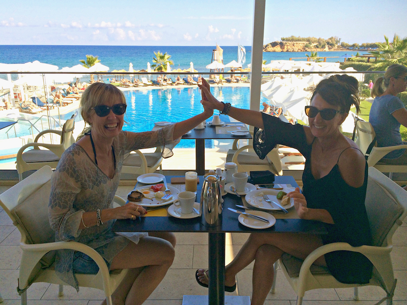 breakfast at a luxury yoga retreat in crete greece with yoga escapes