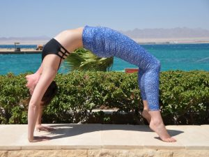 bridge pose on a yoga retreat in egypt