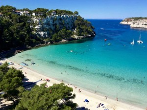cala galdana beach view from the luxury hotel on a yoga retreat in spain