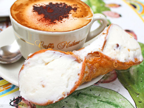 cappuccino and cannoli breakfast on a sicily yoga retreat