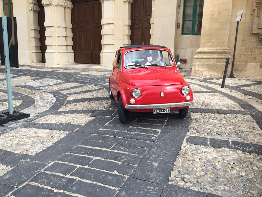 Car in the street in Sicily Yoga Retreat