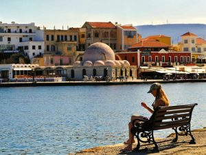 view of the harbor in chania crete
