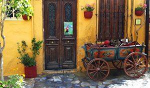chania street in crete greece with yoga escapes