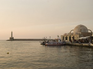 Chania town in Crete at dusk.
