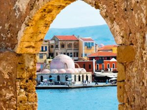 chania town view of harbor on a yoga retreat in greece