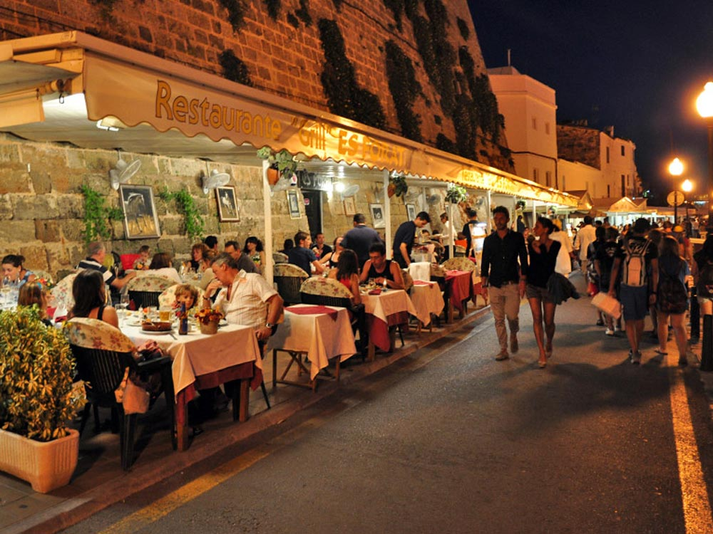 Dinner in Ciutadella in Menorca Spain on a yoga retreat