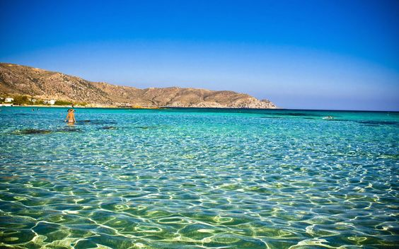 Clear blue sea water in Crete