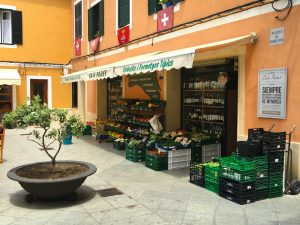 shopping at a deli in menorca spain on a yoga retreat