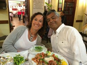 our yogis having dinner in chania town in crete greece