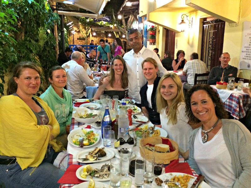 dinner in chania town on a yoga retreat in crete greece