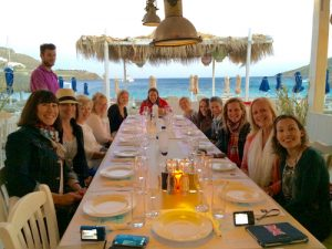 yoga group dinner in mykonos greece with Yoga Escapes