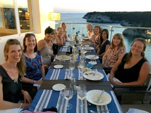 Dinner at Melia Cala Galdana on a yoga retreat in Menorca.