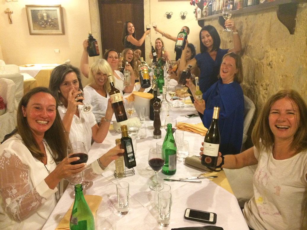 Dinner party in the Yoga Retreat in Sicily