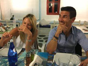 dinner in mykonos town on a yoga retreat in greece