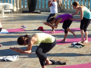 Eagle pose at the yoga retreat in Italy.