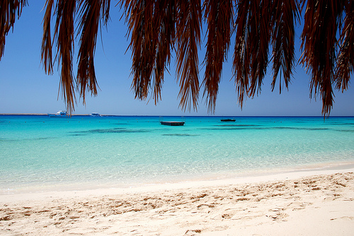 Beautiful beach on a luxury yoga retreat in Egypt with Yoga Escapes.