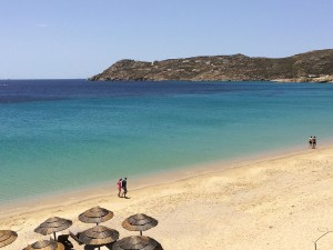 Elia beach in Mykonos on a luxury yoga retreat with Yoga Escapes