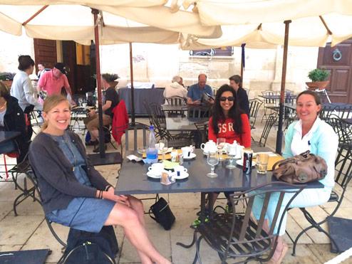 Enjoying beverages in Sicily Yoga Escapes