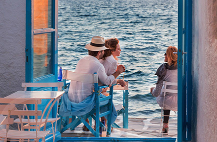 enjoying greek sea front with Yoga Escapes