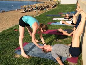 Evening restorative yoga in Crete.