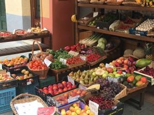 Vibrant fruit market, Menorca, Spain.