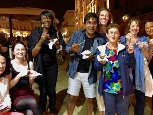 gelato with the yoga escapes group in italy