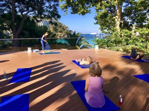 getting ready for yoga class in menorca spain