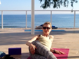 Getting ready for yoga in Crete.