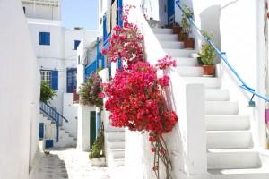 Greece town streets on a luxury yoga retreat.