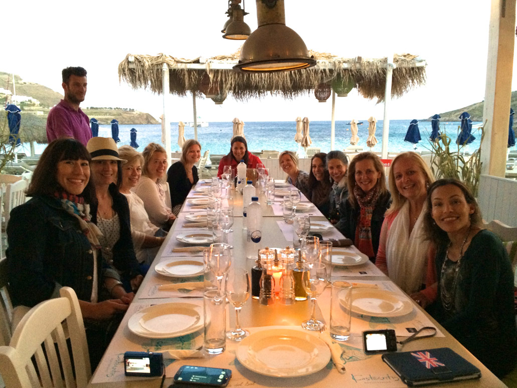 Group dinner at Ornos in Mykonos